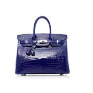 白富富富美看过来哦 Hermès 爱马仕 超经典收藏款 Birkin 电光蓝鳄鱼纹手提包
