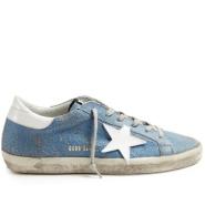 35码有货,炒鸡白菜了~GOLDEN GOOSE Super Star low-top crackled-leather trainers 女款蓝色小脏鞋