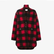 Isabel Marant Étoile Gino Cocoon Checked Coat 时尚红黑格纹大衣