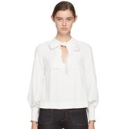 See by Chloé White Bow Blouse 白色蝴蝶结装饰衬衫