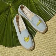 3双399元+免邮+21种图案可选!Soludos  刺绣香蕉草编鞋