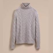半价!Burberry 巴宝莉 100%山羊绒麻花编织毛衣 男女可穿