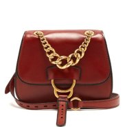 Miu Miu Dahlia leather cross-body bag 酒红色马鞍包