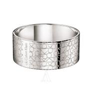 【额外8折】Calvin Klein 卡尔文·克莱恩 银色金属材质logo女士宽版手镯