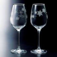 【中亚prime会员】NARUMI 鸣海制陶 高脚玻璃葡萄酒杯2个 雪花+星星