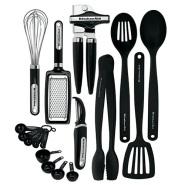 【中亚Prime会员】KitchenAid 凯膳怡 厨房经典17件装工具和小器具套件(黑色)