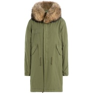 MR & MRS ITALY Cotton Parka with Raccoon Fur 军绿色皮草领装饰外套