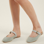 CHLOÉ Lauren scallop-edged suede backless loafers 女款花瓣拖鞋