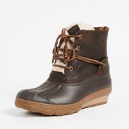 下雪天是不是都想来双防水雪地靴~Sperry Saltwater Wedge Tide 女款坡跟皮毛短靴