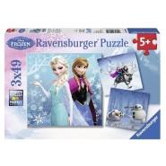 【中亚Prime会员】Ravensburger 睿思 迪士尼系列冰雪奇缘拼图 49片*3 R092642