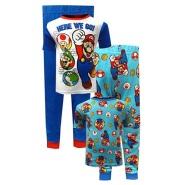 【中亚Prime会员】超级马里奥 棉质睡衣套装 4件套 8码(适合7-8岁男童)