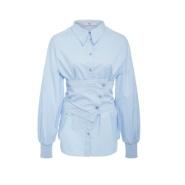 【新人9折】Tibi 18年春季新款绸缎亚麻设计感衬衫