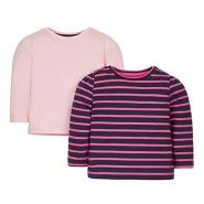 【中亚Prime会员】Mothercare 婴儿条纹/粉色长袖T恤 2件装