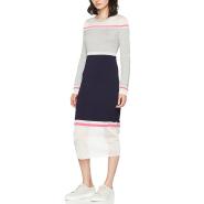 【中亚Prime会员】Tommy Hilfiger 汤米·希尔费格 女士拼色薄纱针织长袖连衣裙