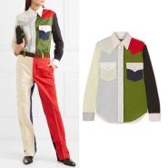 大火趋势品牌 CALVIN KLEIN 205W39NYC 18年走秀款拼色纯棉府绸衬衫