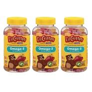 【中亚Prime会员】L'il Critters Omega-3 DHA 儿童鱼油水果软糖 120粒*3瓶