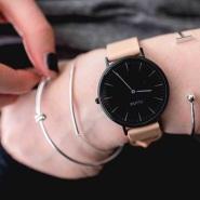 小众品牌!【中亚Prime会员】Cluse CL18503 La Boheme系列 粉色皮石英正装手表
