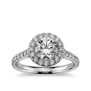 Blue Nile 圓形光環鉆石訂婚戒指戒拖