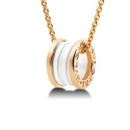 Bvlgari 宝格丽 B.Zero1 迷宫系列 346082 18K粉金白色陶瓷项链