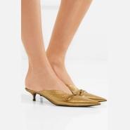 【时尚博主独立女皇 Amanda 同款】BALENCIAGA Knife 金属感纹理皮革穆勒鞋