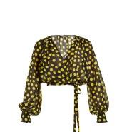 华丽风格 Attico Polka-dot georgette wrap top 波点裹衣