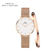 买手表 送手镯!Daniel Wellington DW 丹尼尔惠灵顿 不锈钢米兰风格表带手表 32mm 玫瑰金