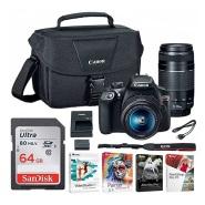 超低好价!【美亚自营】Canon 佳能 EOS Rebel T6 入门级单反 18-55mm+75-300mm 双镜头套机 送包和64G卡