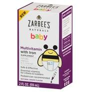 史低价!【美亚直邮】Zarbee's Naturals 天然婴儿综合维生素 + 铁补充剂 59ml