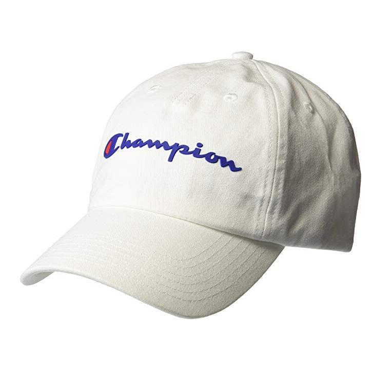 低價!【中亞Prime會員】Champion 冠軍 經典百搭英文logo刺繡可調節棒球帽 白色