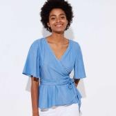 【簡約百搭】Loft 藍色V領法式上衣