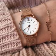 荷兰小众品牌!【中亚Prime会员】Cluse La Vedette Mesh系列 CL50006 女士不锈钢表带纤薄简洁手表