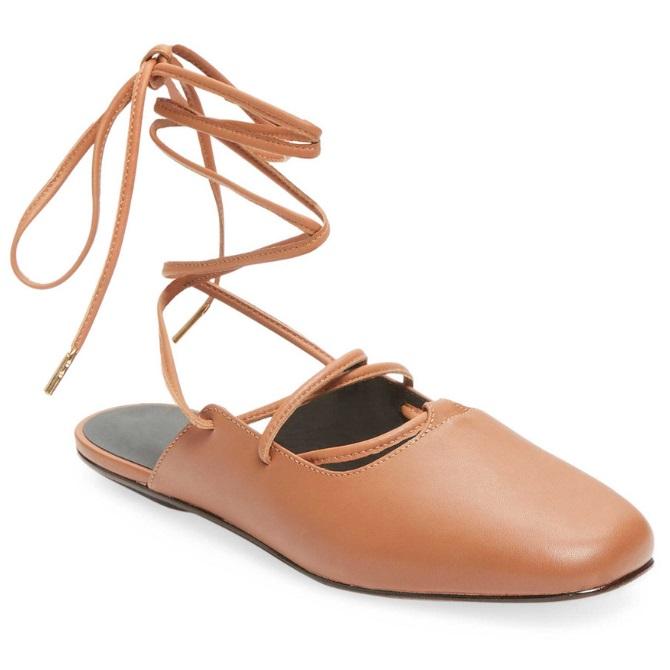 码数全!Tibi Lila Pointed 棕色绑带穆勒鞋