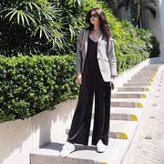 【超模何穗類似款】Juicy Couture 黑色絲絨V領連體褲