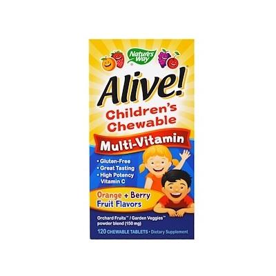 【2件0稅免郵】Nature's Way Alive! 兒童復合維生素咀嚼片 橙味+復合莓 120片