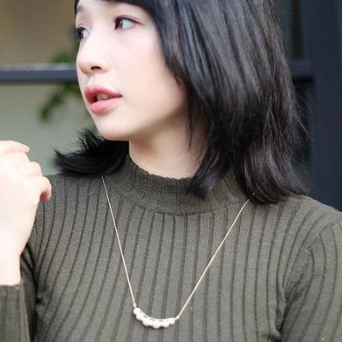 【1件包郵】Beppin-Komachi 別嬪小町 笑臉珠鉆長項鏈 N0046 金色