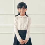 限時8折!GITA basic 女童長袖圓領襯衫 白色 多尺碼可選
