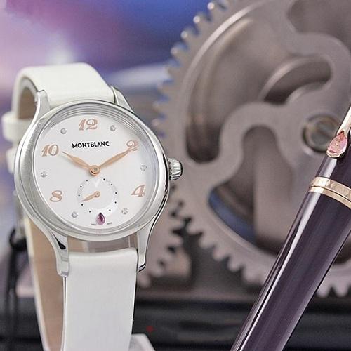 典藏好價系列!Montblanc 萬寶龍 摩納哥格蕾絲王妃系列 銀白色圓盤女士氣質腕表 107334
