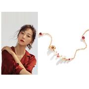 【韓雪同款】SOFTDORA 索緹朵. FLOWER. 鍍14K金鑲紅剛玉手工浮雕玫瑰花項鏈