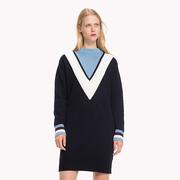 Tommy Hilfiger 拼色V型領口毛衣裙