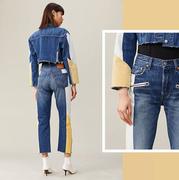 Levi's 501 拼接中腰女士牛仔直筒褲