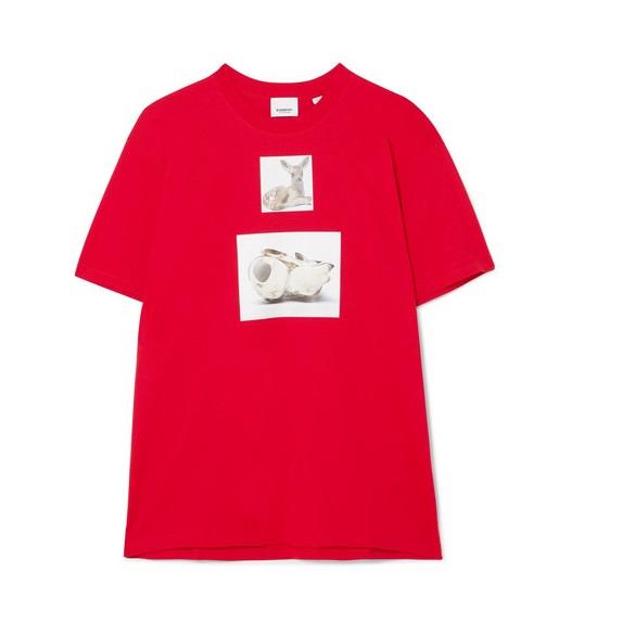 和卹f�x�_burberry 大廓形印花纯棉平纹布 t 恤