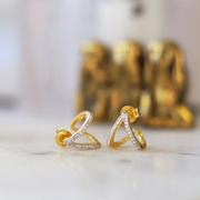 Missoma 18ct 鍍金彎曲月牙鑲鉆耳環