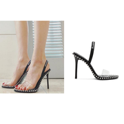 【泫雅同款】Alexander Wang 大王 PVC 黑色鉚釘高跟涼鞋