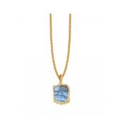 Missoma 18ct 鍍金琉璃藍色寶石吊墜項鏈