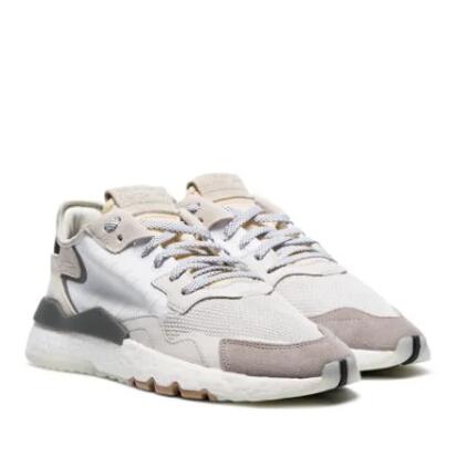 ADIDAS Nite Jogger白色絨面皮真皮低幫運動鞋