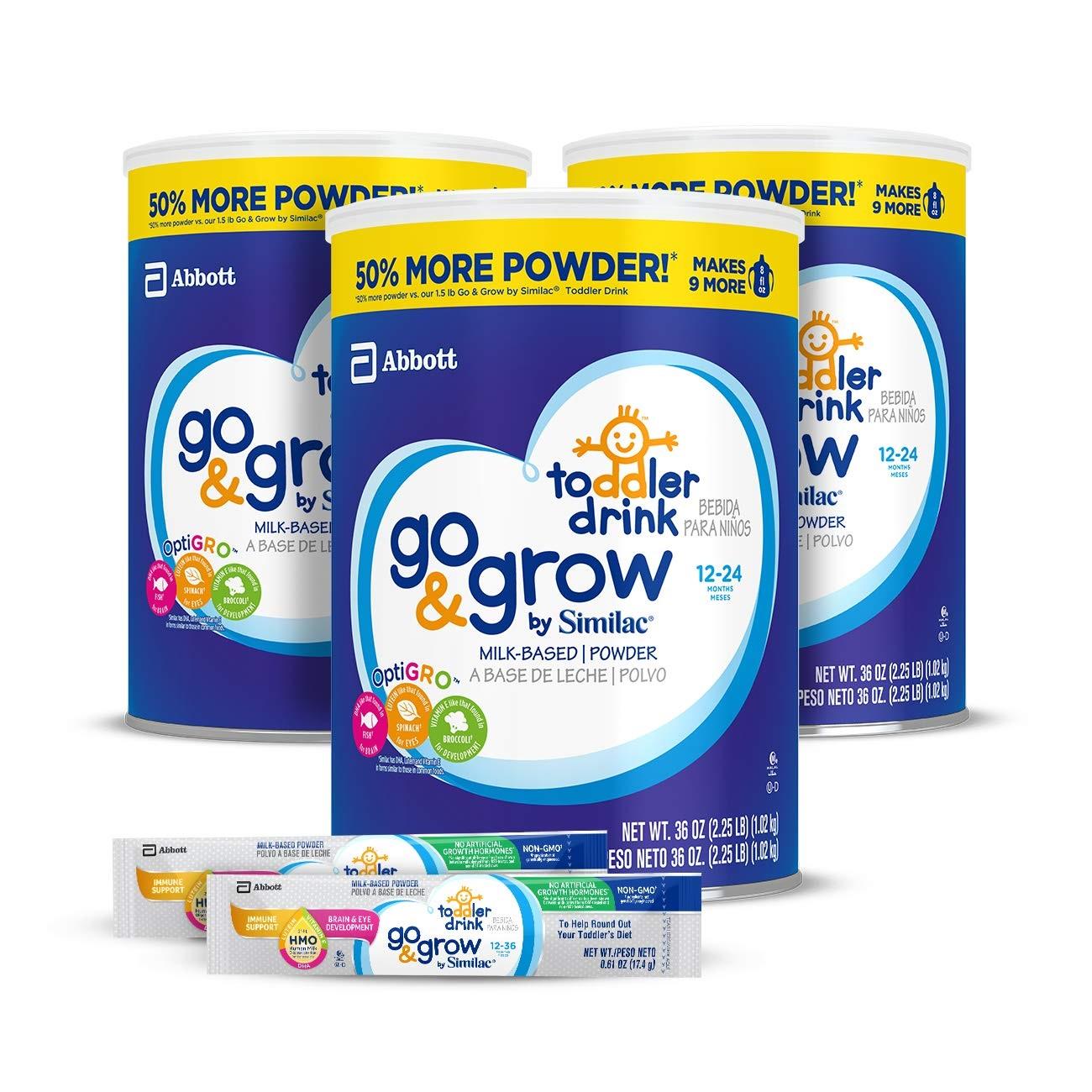 【中亞Prime會員】Similac 雅培 Go&Grow 金盾嬰幼兒寶寶3段奶粉 1020g*3罐 附贈奶粉便攜裝17.4g*2條