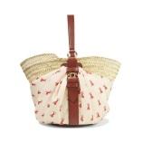 CHLOé Panier 皮革邊飾印花斜紋布編織酒椰葉纖維手提包
