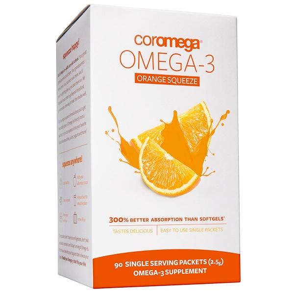 【2件0稅免郵】Coromega 歐米茄-3 擠壓橙汁 2.5g*90包