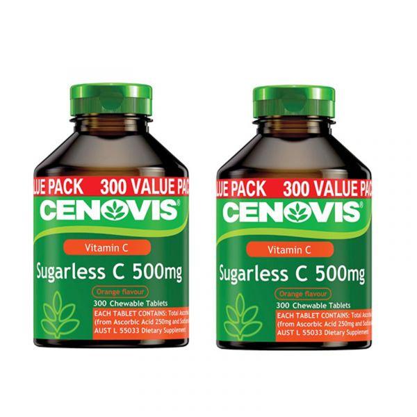 【免郵中國】Cenovis 無糖維生素C咀嚼片 300粒*2瓶