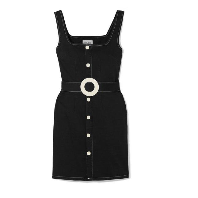 SOLID & STRIPED 配腰帶棉質混紡斜紋布迷你連衣裙